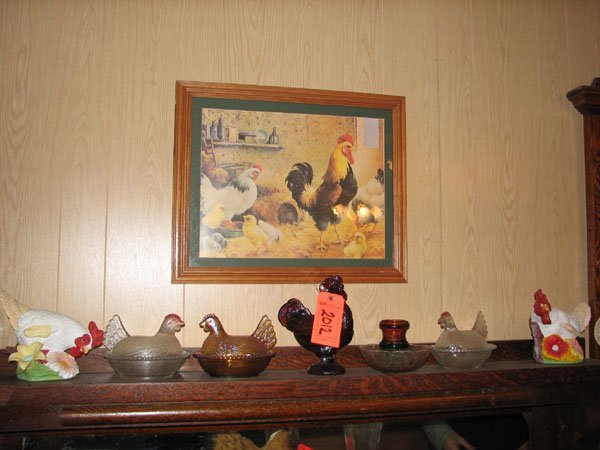 2012: CHICKEN FIGURINES, GLASS ROOSTER, HENS, RED HEAD