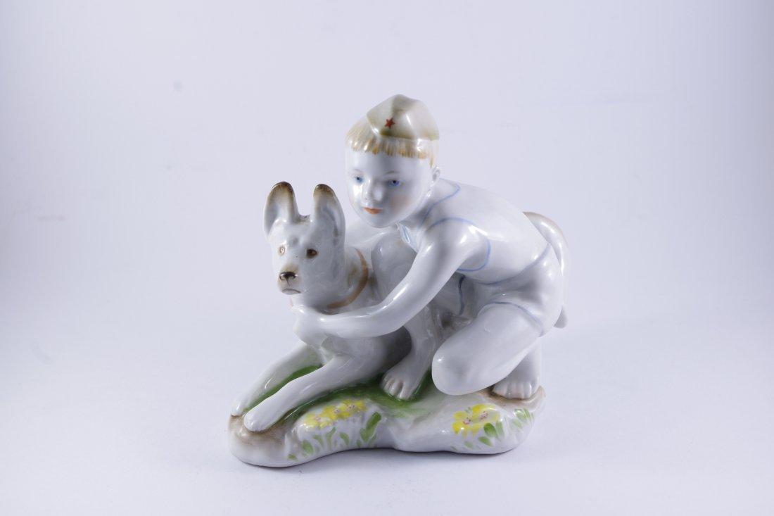 "A Russian LFZ Figure ""Boy with dog"""