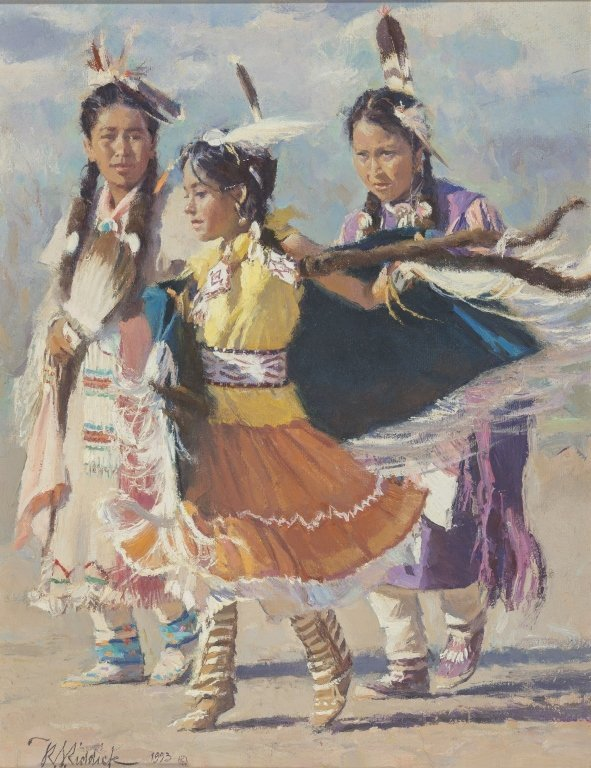 R.S. Riddick (b.1952) Three Indian Girls Dancing,