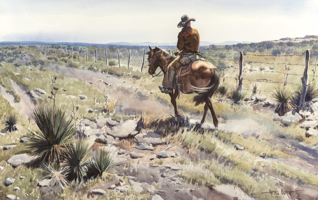 James Boren (1921-1990) Lonely Fence Rider, 1971