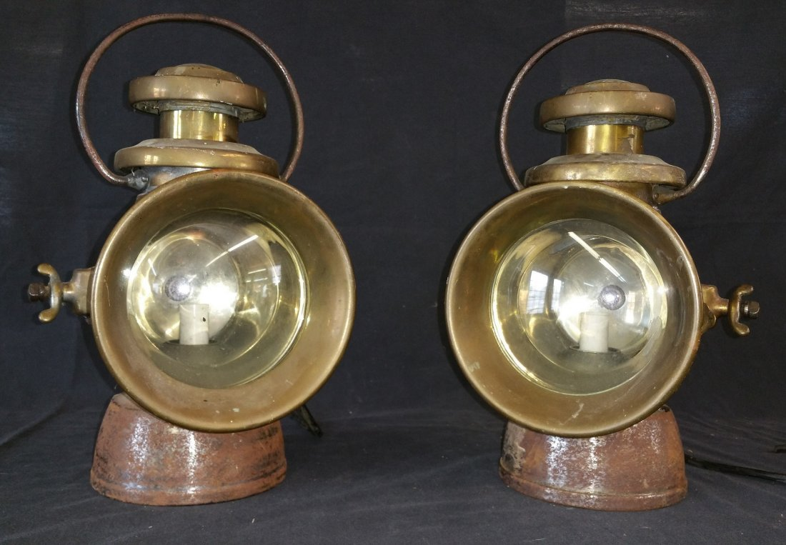 "Antique Brass "" King of the Road"" Auto Lamps Pair-"