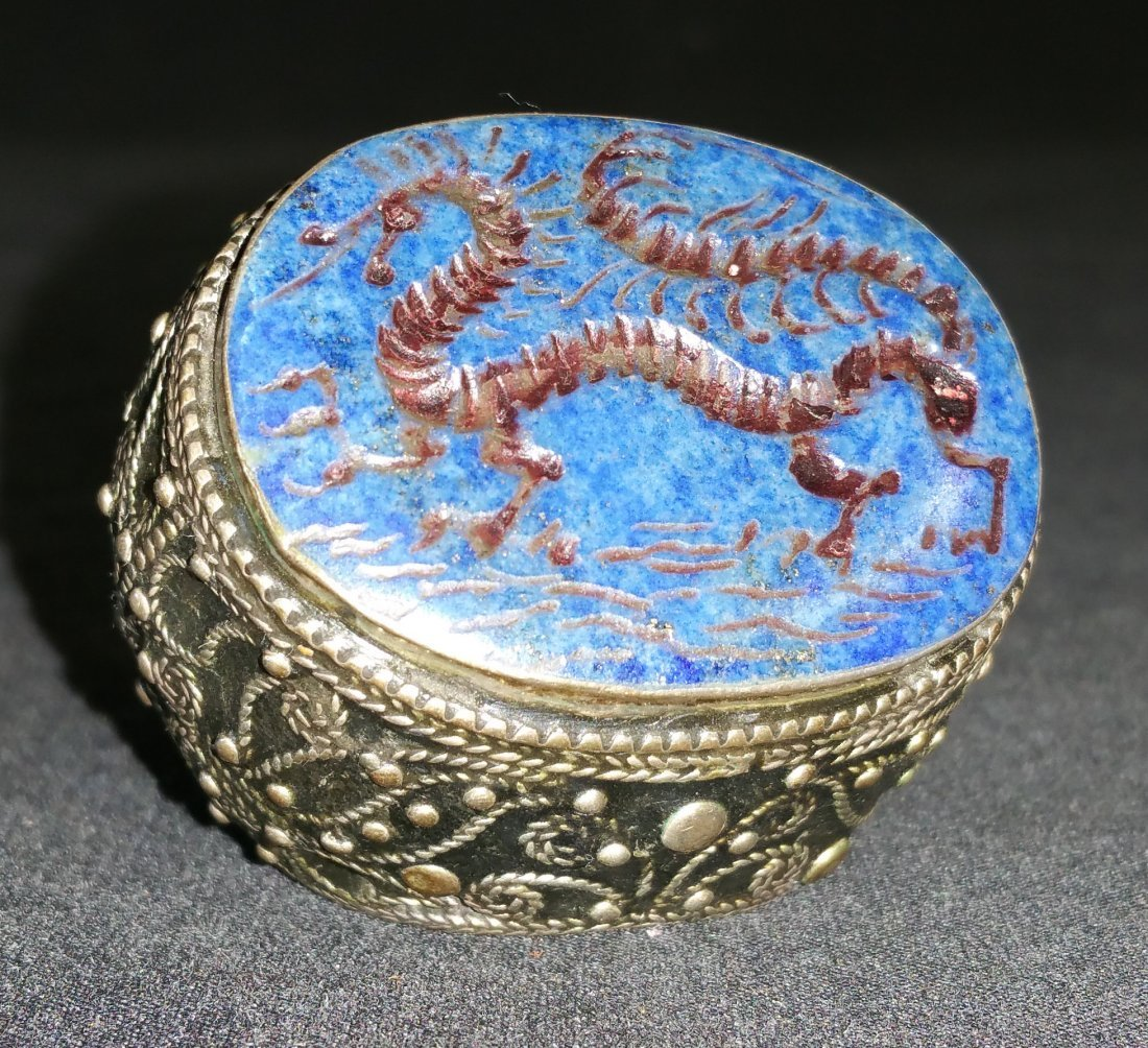 CRAVAT RING OF SILVER AND LAPIS