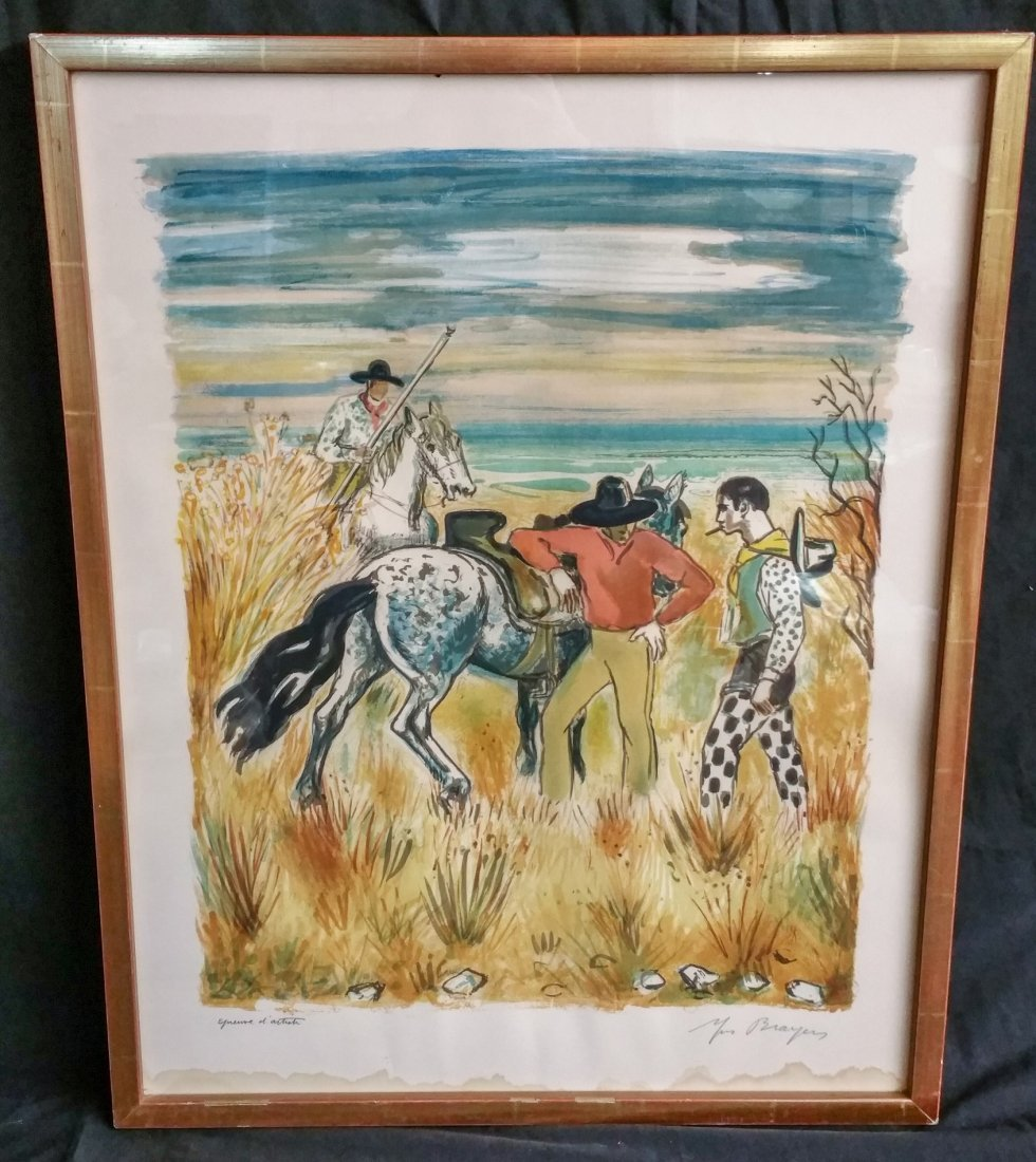 HORSEMAN ON A GRASSLAND PLAIN BY YVES BRAYER