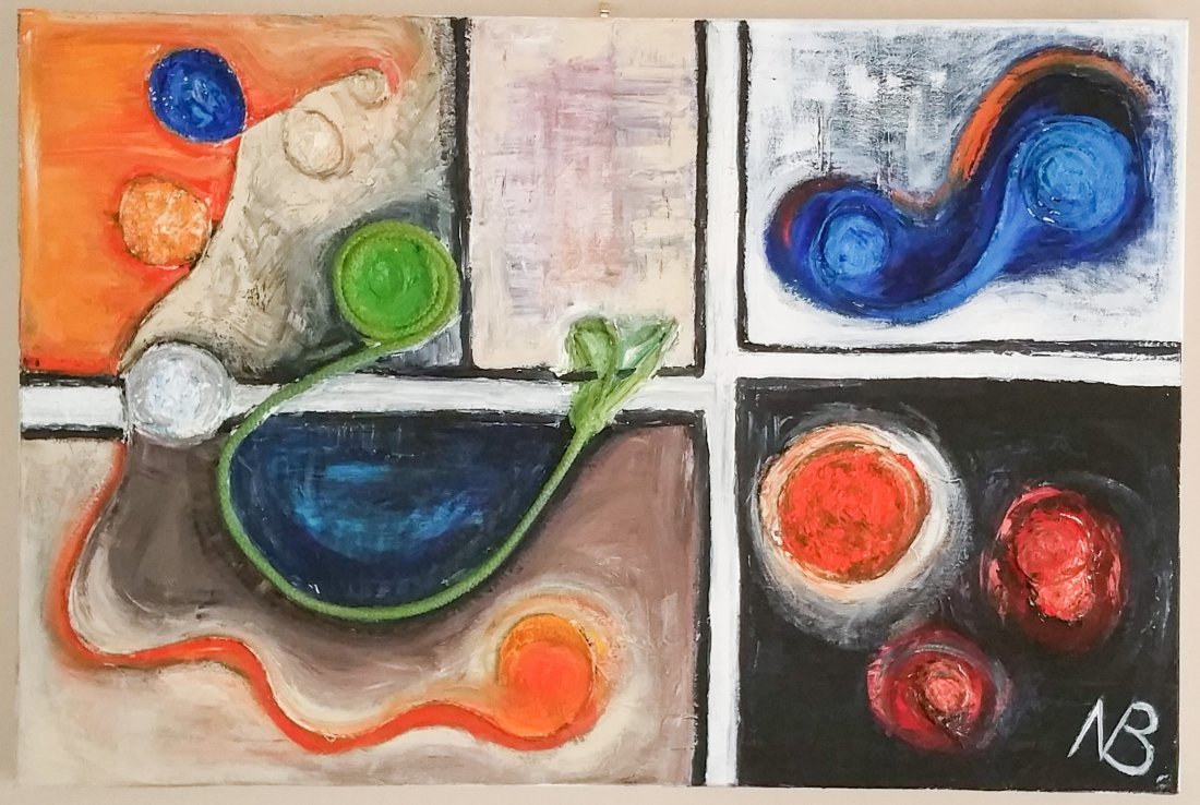 ORIGINAL MIXED MEDIA MODERN NANCY BORLASE (1914-2006)