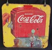 Rare 2 Sided Coca-Cola Fountain Sign 1940
