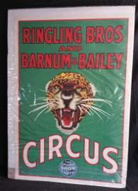 Vintage Lithograph Circus Leopard Poster Ringling Bros