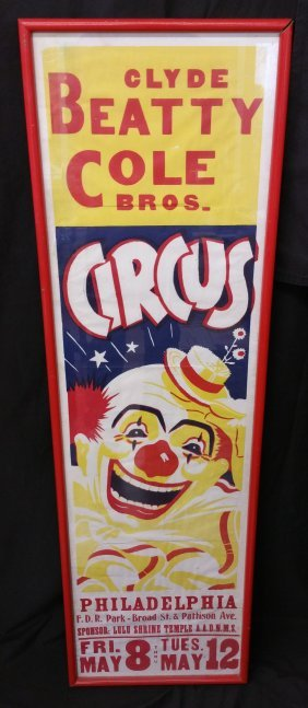 Framed Vintage Clyde Beatty Cole Bros. Clown Poster