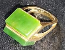 Designer 14kt Gold & Jade Ring