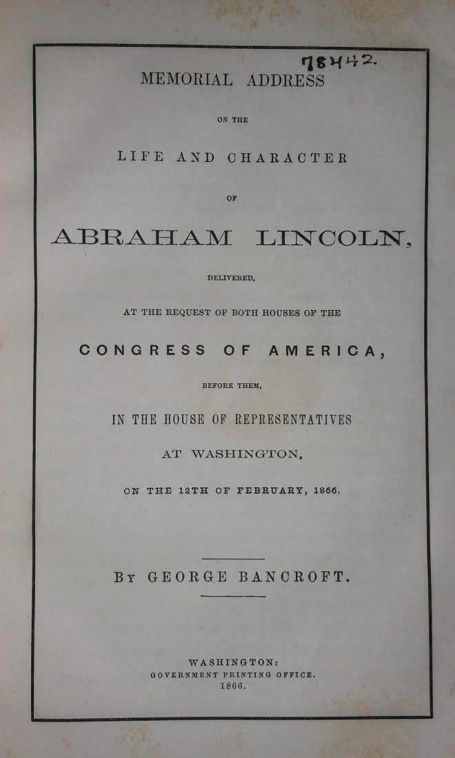 1866 1st Edition: Memorial Address Abraham Lincoln - 2