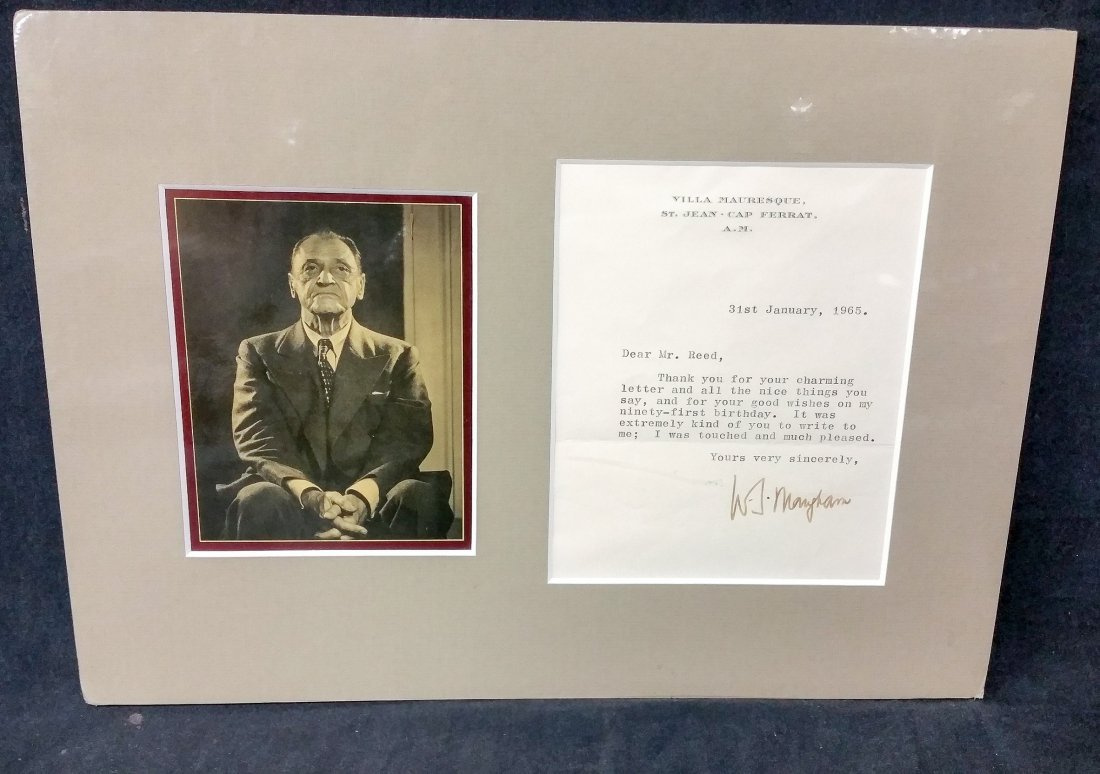 W. Somerset Maugham 1965 Typed Letter Signed with Photo