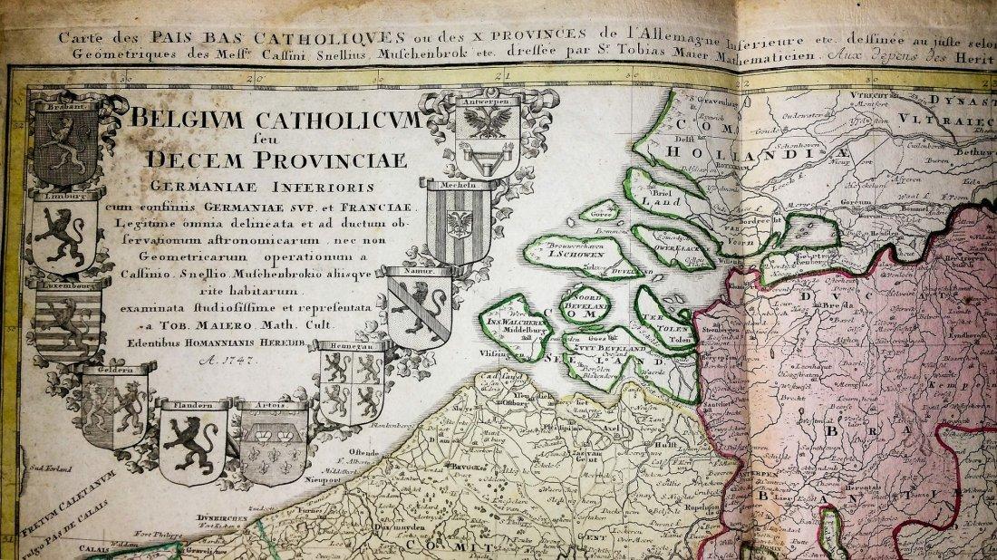 Rare 1747 Map Belgium by Edentibus Homannianis Heredib