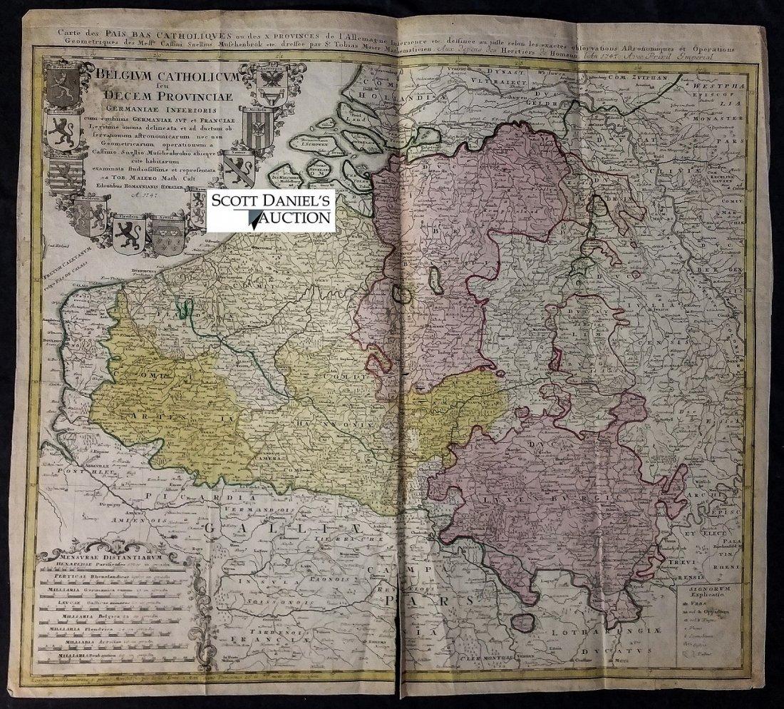 Rare 1747 Map Belgium by Edentibus Homannianis Heredib - 2