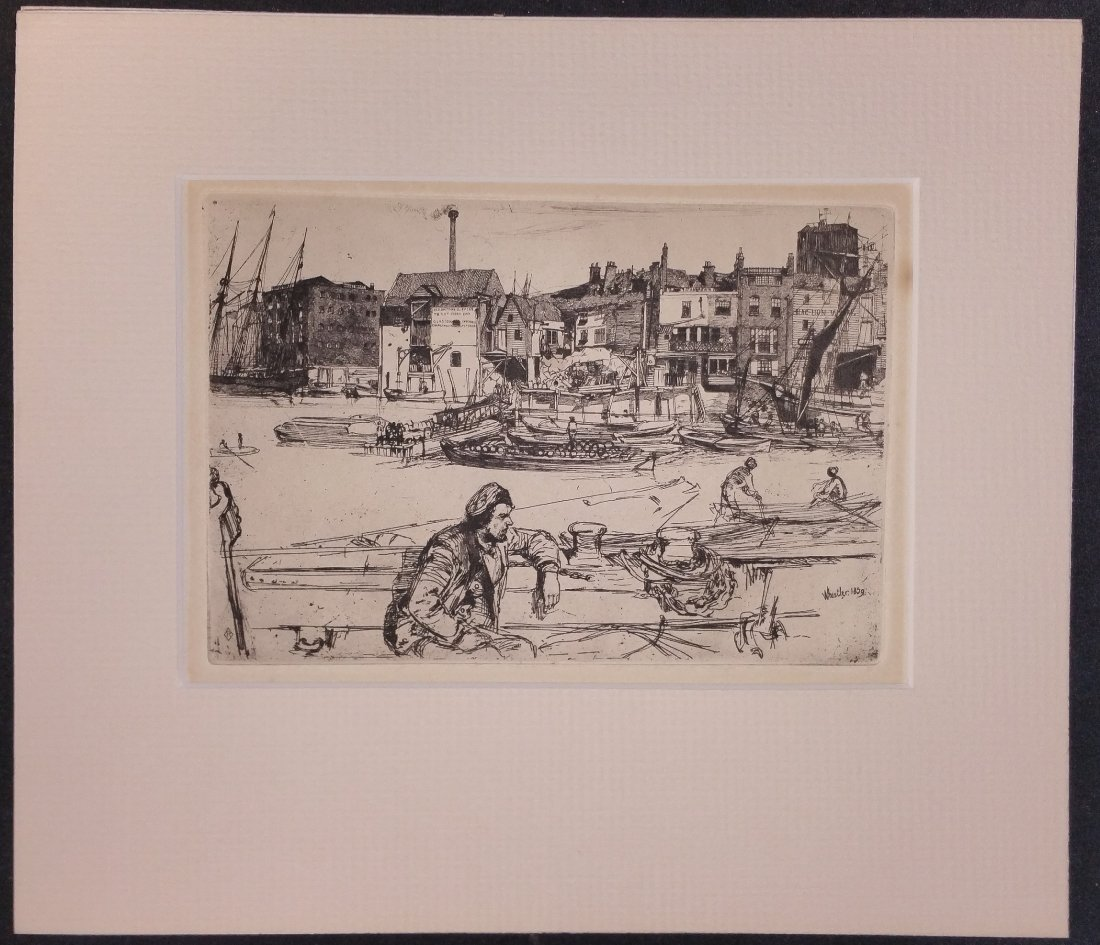 Black Lion Warf  Etching by Whistler , 1859