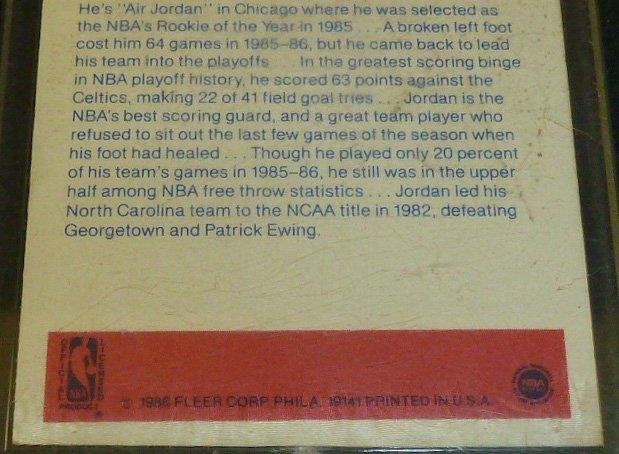 Michael Jordan Rookie Sticker Card - 6