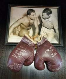 Rocky Marciano Signed Gloves and Photo