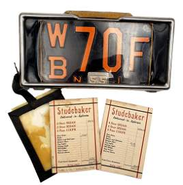Rare Studebaker NJ Dealers Plate, Frame, Window Tag