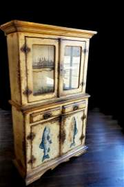 Rustic Hutch with Fish Motif on Bottom