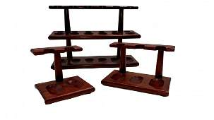 Wood Pipe Holders Freestanding 3 pieces