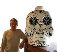Oversized Dia de Los Muertos Skull KAH Tequila Display