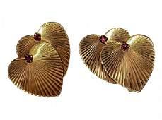 Vintage 14kt w Ruby Double Heart Clip Earrings -Tiffany