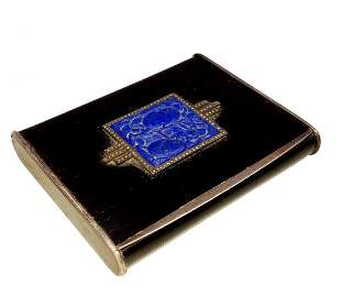 Early Alfred Dunhill Paris Enameled Carved Lapis Snuff