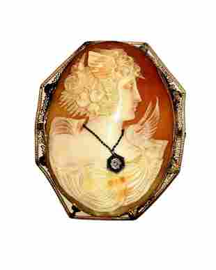 Large Victorian Cameo with Diamond in 14kt Gold