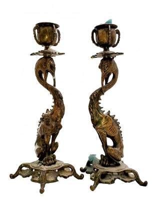 Crane Dragon  Bronze Candle Sticks