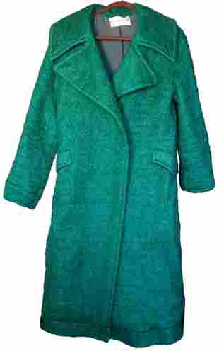 Vintage Oscar de la Renta Green Mohair Overcoat