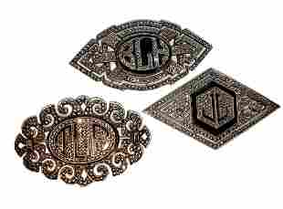 3 Antique Marcasite Monogram Sterling Brooches