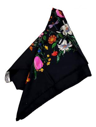 Vintage Gucci Silk Scarf – Floral on black
