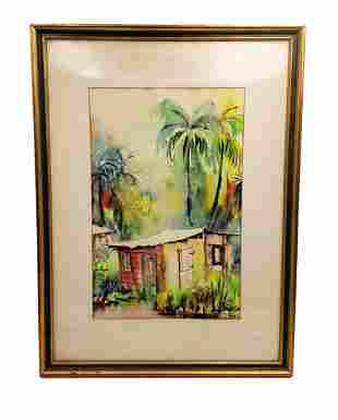 Dermot Louison: Watercolor Tropical Shack Signed Framed
