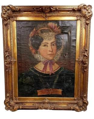 19th C American School Folk Art Portrait -Lady