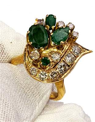 Emerald and Diamond 18kt Yellow Gold Cocktail Ring
