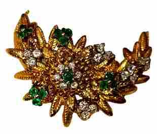 Large 18kt Emerald Diamond Pin - Leaf Motif