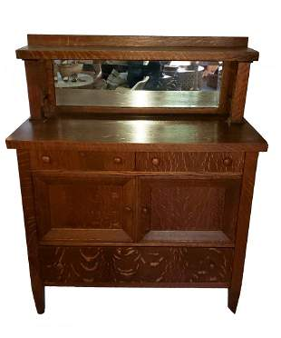 Mission Tiger Oak Sideboard w/ Mirror- Arts and Crafts