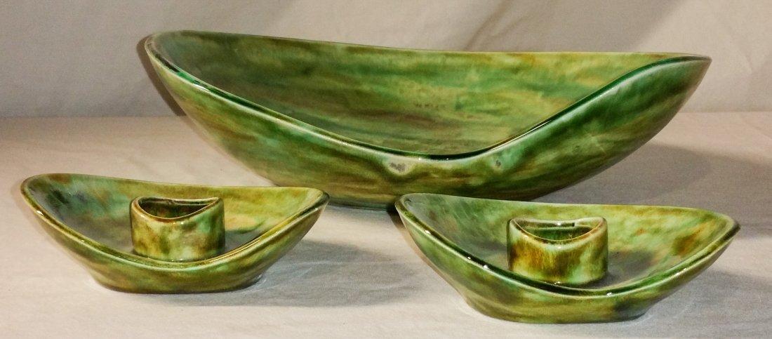 Mid Century Ceramic Bowl Candlestick Set