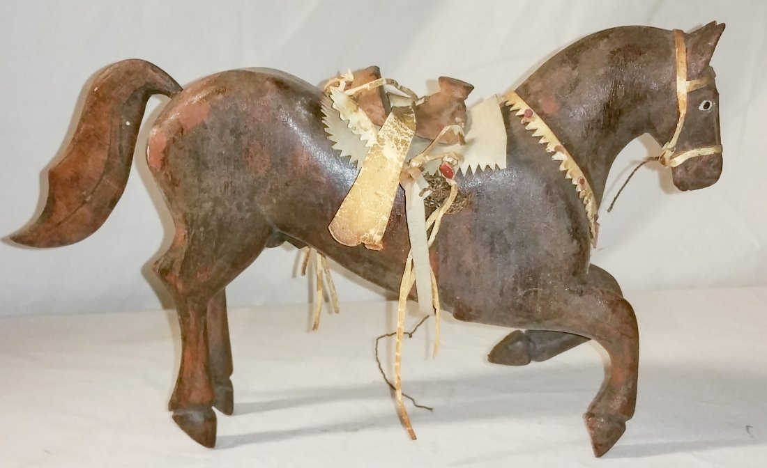 Early 1900's Hand Carved Wood Horse with Leather Tack