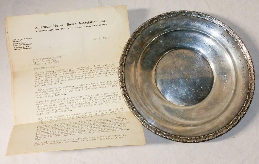 1952 Gorham Sterling Silver Woodstock Boice Memorial Tr