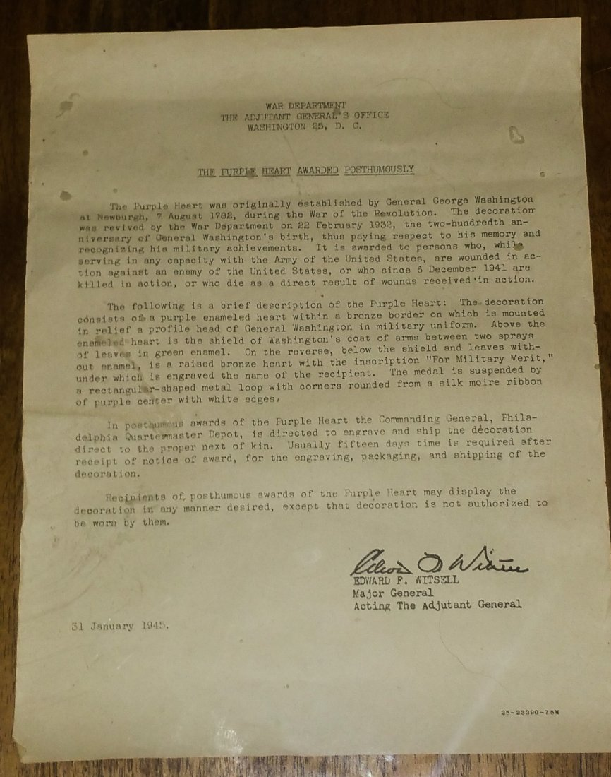 1945 PURPLE HEART WITH FULL DOCUMENTATION, TRUMAN - 5