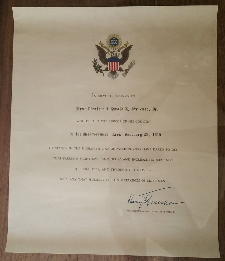 1945 PURPLE HEART WITH FULL DOCUMENTATION, TRUMAN - 6