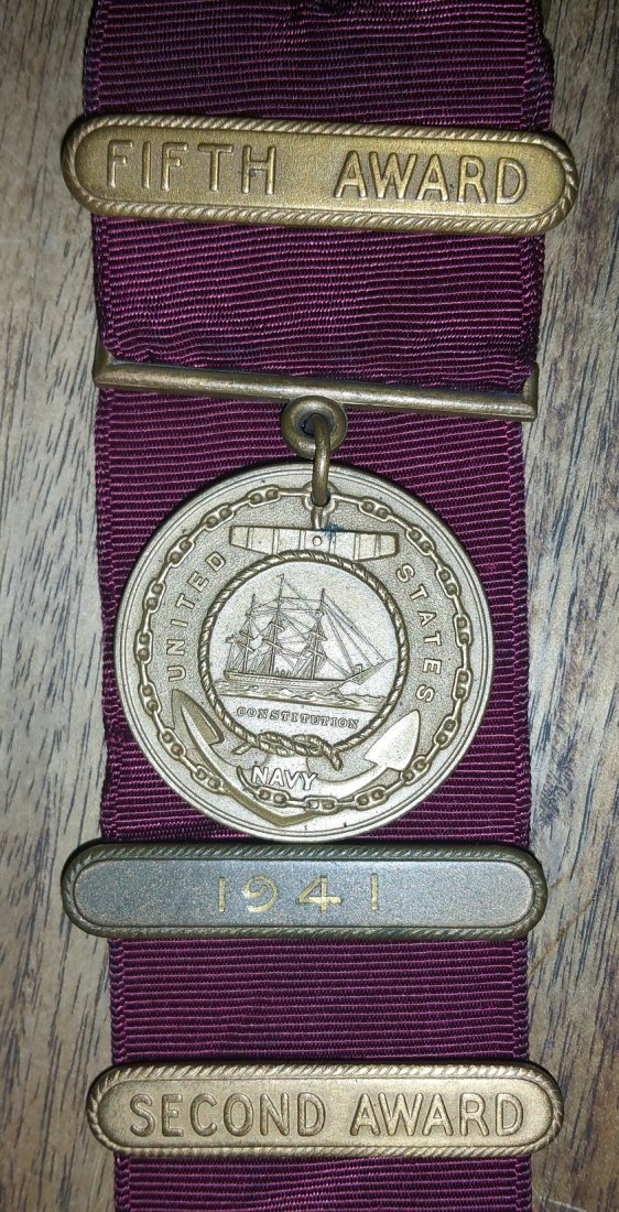 1941 US NAVY MEDAL AND BARS LEONARD LAWRENCE TAYLOR