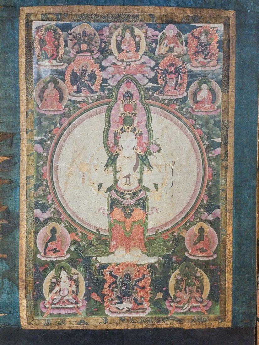 FINE EARLY TIBETAN SILK MANDALA-THANGKA OF BRAHMA