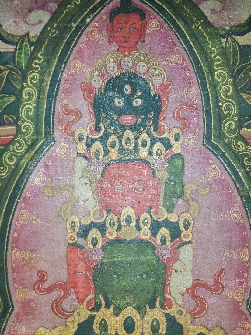 FINE EARLY TIBETAN SILK MANDALA-THANGKA OF BRAHMA - 2