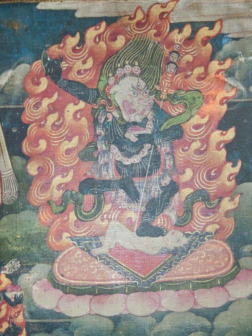 FINE EARLY TIBETAN SILK MANDALA-THANGKA OF BRAHMA - 3