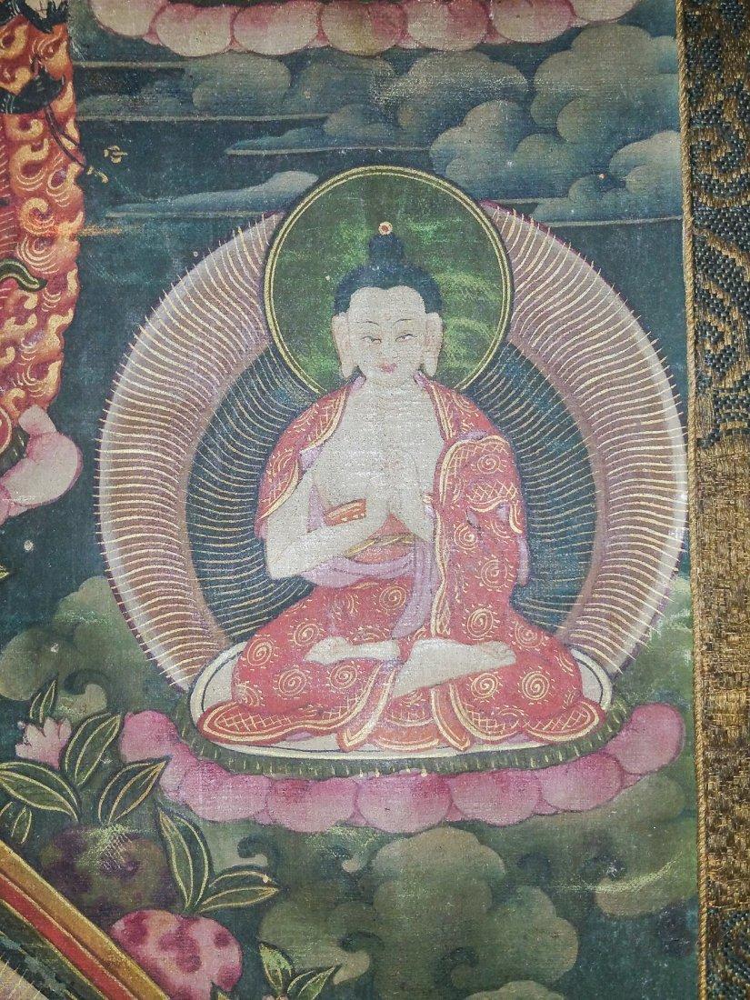 FINE EARLY TIBETAN SILK MANDALA-THANGKA OF BRAHMA - 4