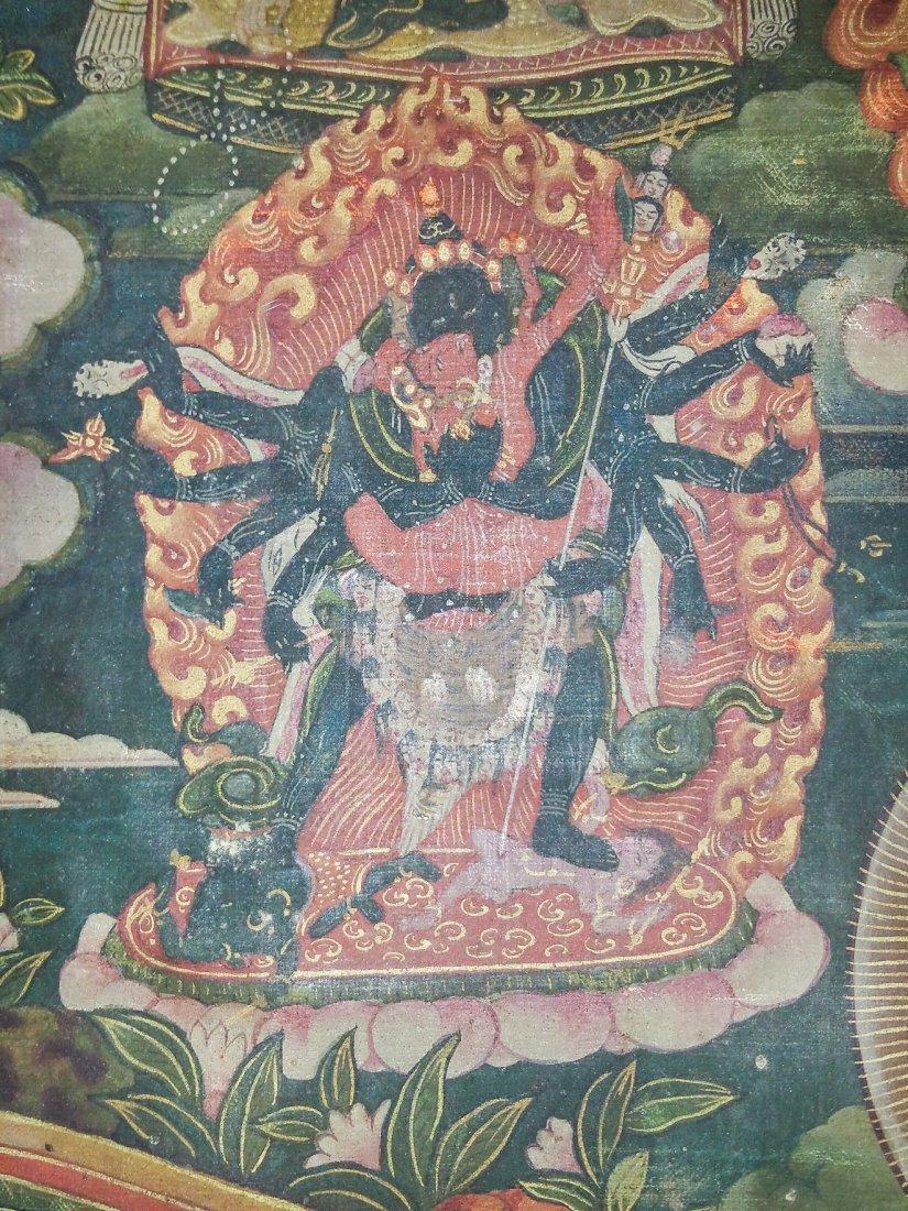 FINE EARLY TIBETAN SILK MANDALA-THANGKA OF BRAHMA - 5