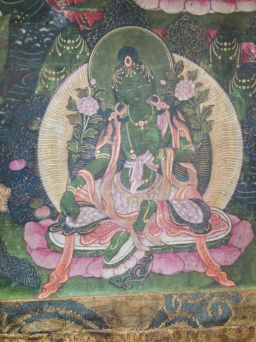 FINE EARLY TIBETAN SILK MANDALA-THANGKA OF BRAHMA - 7