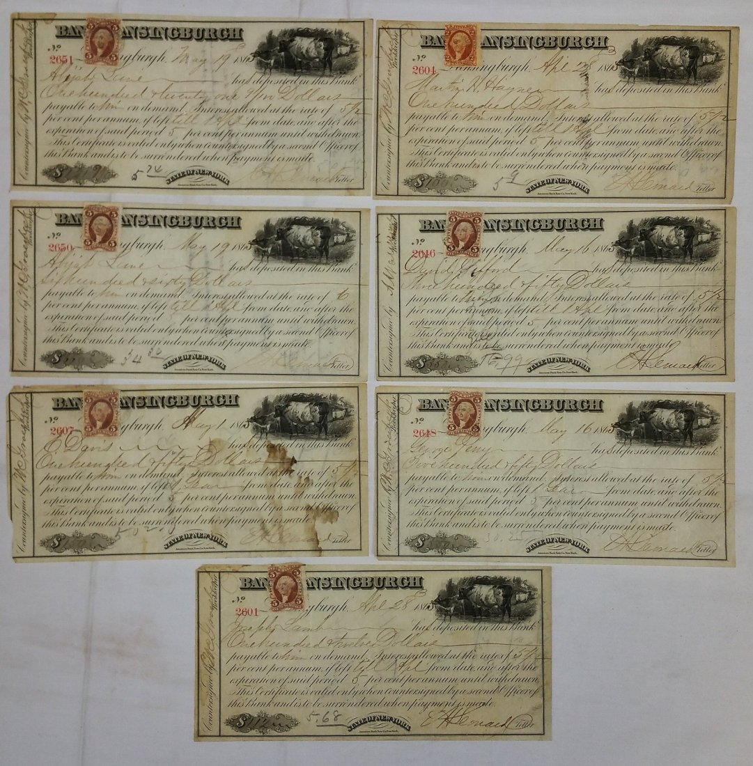 BANK OF LANSINGBURGH 1865 DEPOSIT SLIPS REVENUE STAMPS