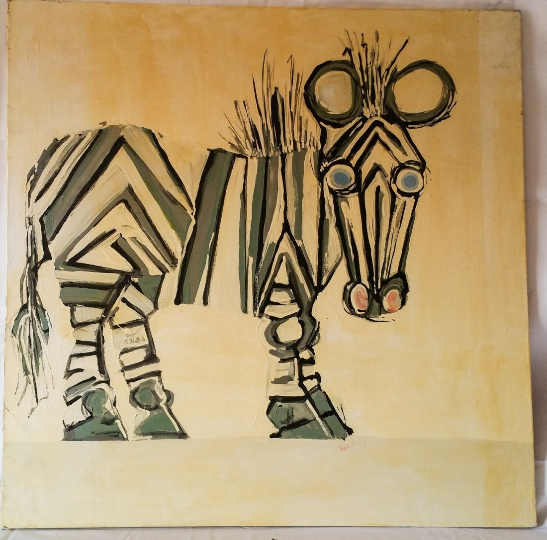 STYLIZED ZEBRA ACRYLIC ON CANVAS SIGNED