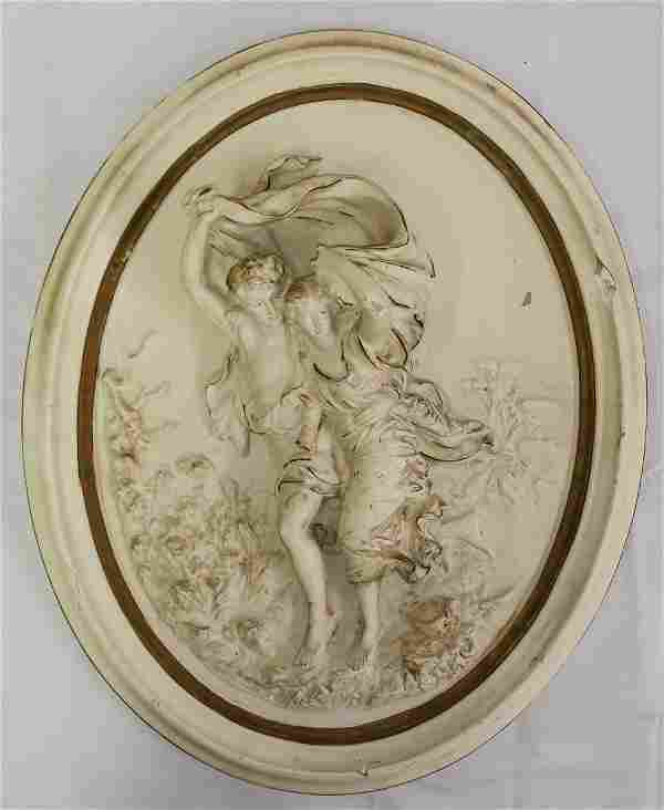 BAS RELIEF ROMAN MAIDEN AND A YOUTH ALEXANDER BAKER